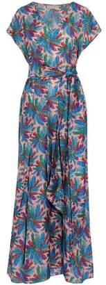 Emilio Pucci Belted Printed Silk-Satin Maxi Dress