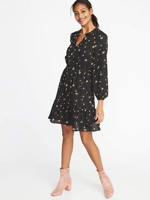 Old Navy Floral Georgette Waist-Defined Dress for Women