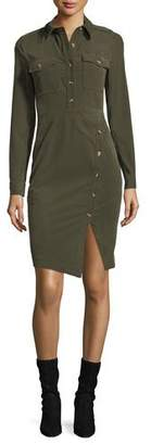Veronica Beard Britton Long-Sleeve Corduroy Shirtdress w/ Button Details
