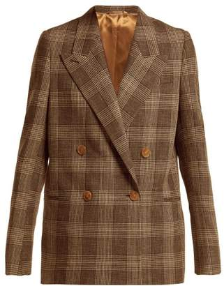 Acne Studios Prince Of Wales Check Wool Blend Blazer - Womens - Brown Multi