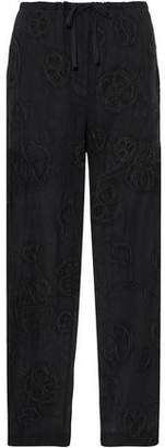 Brunello Cucinelli Bead-Embellished Cotton Wide-Leg Pants
