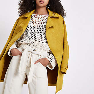 River Island Womens Yellow faux suedette trench coat