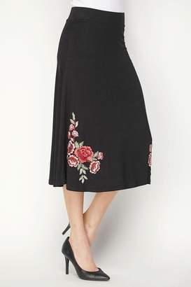 Lapis Flower Embroidered Skirt