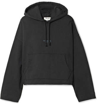 Acne Studios Joggy Cropped Cotton-jersey Hooded Top - Black