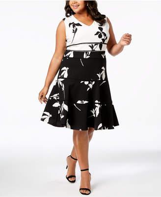 Taylor Plus Size Colorblocked Floral Fit & Flare Dress