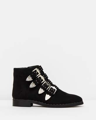 Missguided 4-Buckle Western Ankle Boots