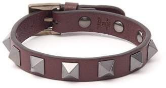 Valentino Rockstud Leather Bracelet - Mens - Burgundy