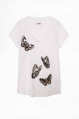 Zadig & Voltaire Tiny Cannetille Butterfly T-Shirt