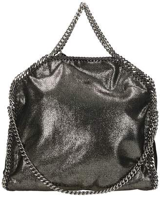 Stella McCartney Falabella Fold Over Tote Silver Faux Leather Bag