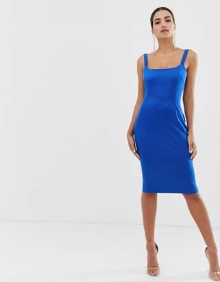 Vesper satin square neck bodycon dress in cobalt