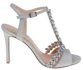 Badgley Mischka Maxi Shimmer Satin Stiletto Sandals