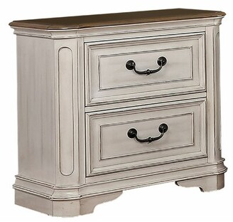 Charlton Home Transitional Wooden Nightstand With 2 Drawers And Bracket Legs, White Charlton Home