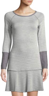 B Stchd Long-Sleeve T-Body Dress with Flowy Hem