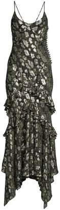Michael Kors Ruffled Metallic Python-Print Slip Dress