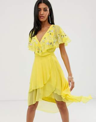 Asos Design DESIGN midi dress with cape back and dipped hem in embellishment