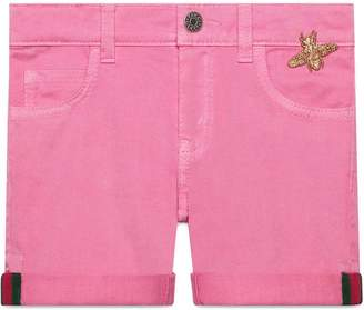 Gucci Kids Children's denim short with Web and bee