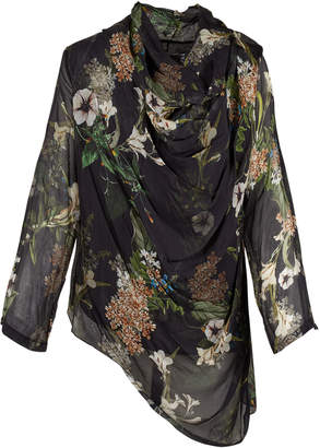 M Made In Italy Floral Cowl Neck Blouse w Asymmetrical Hemline