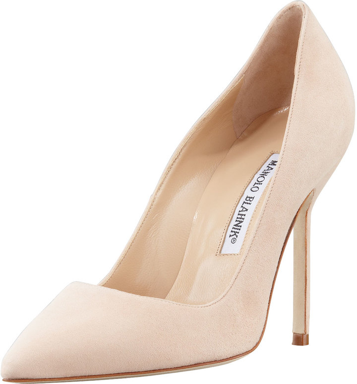 Manolo Blahnik BB Suede 105mm Pump, Nude (Made to Order)
