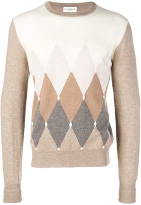 Ballantyne colour contrast round neck sweater