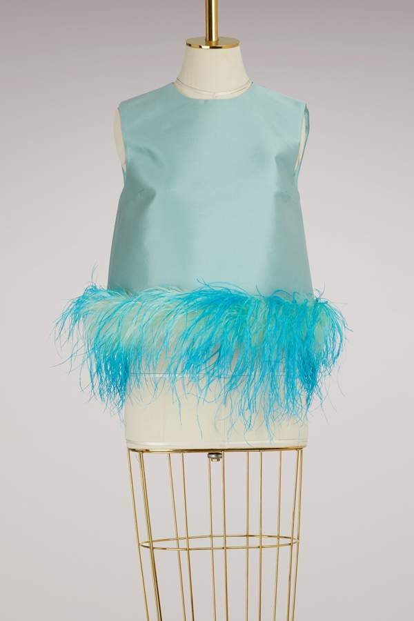 Prada Satin feather sleeveless top