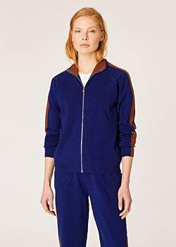 Women's Indigo Knitted Zip Cardigan With Rust Side Band