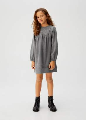 MANGO Floral embroidery dress grey - 5 - Kids