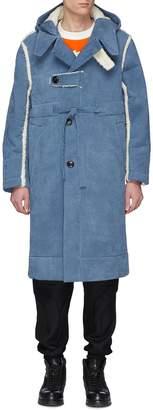 Pronounce Faux shearling trim hooded corduroy coat