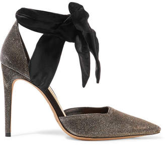 Alexandre Birman Amalia Textured-lamé And Satin Pumps - Silver