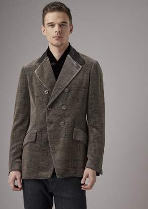 Giorgio Armani Double-Breasted, Slim-Fit Velvet Jacket With Leather Detail