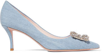 eeda7d0dd42 Roger Vivier Flower Crystal-embellished Denim Pumps - Light denim