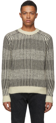 Saint Laurent Black and White Vertical Stripe Sweater