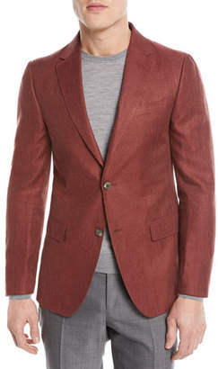 Z Zegna 2264 Z Zegna Linen/Cotton Herringbone Two-Button Jacket