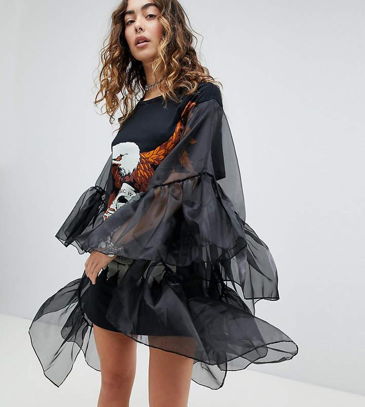 Sacred Hawk – Grunge – T-Shirt-Kleid mit betonten Ärmeln