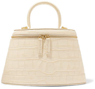BY FAR Annie Croc-effect Leather Shoulder Bag - Cream