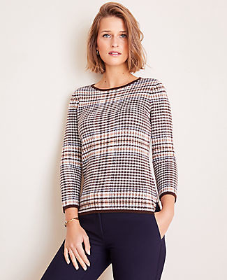 Ann Taylor Petite Tipped Plaid 3/4 Sleeve Sweater