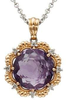 Lord & Taylor Amethyst, Diamond 14K Silver and Rose Gold Necklace