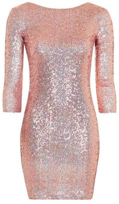 Topshop Slash neck sequin mini dress