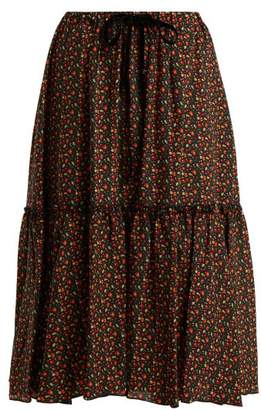 A.P.C. Camille Cherry Print Silk Crepe De Chine Skirt - Womens - Black Multi