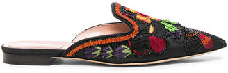 Alberta Ferretti Beaded Shantung Mules in Black | FWRD