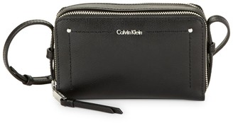 Calvin Klein Logo Leather Shoulder Bag