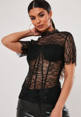 Missguided Black Lace Corset Seam Top
