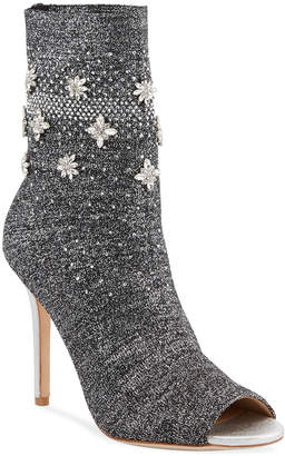 Badgley Mischka Vivi Crystal Embellished Sock Booties