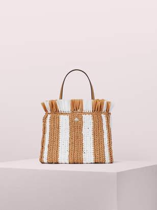 Kate Spade sam stripe straw medium satchel