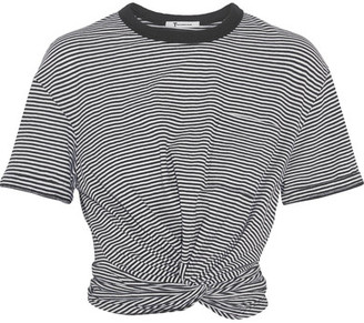 T by Alexander Wang - Cropped Twist-front Striped Cotton-jersey T-shirt - Black $175 thestylecure.com