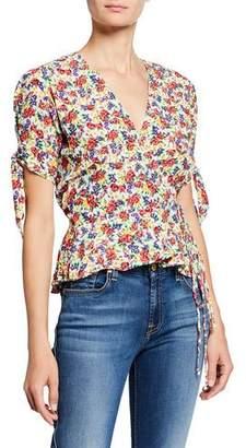 Faithfull The Brand Lucy Floral Print Short-Sleeve Wrap Top