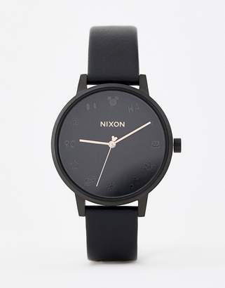 Nixon X Mickey Mouse Kensington Leather Watch In Black