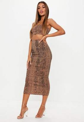 Missguided Petite Snake Print Ribbed Skirt and Crop Top Co Ord Set, Nude