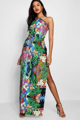 boohoo Kara Tropical Cut Out Maxi Dress