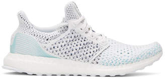 adidas White and Blue UltraBOOST Parley PK Sneakers