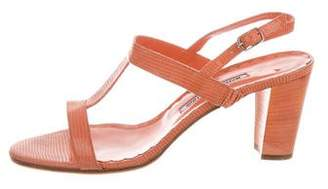 Manolo Blahnik Embossed Ankle Strap Sandals